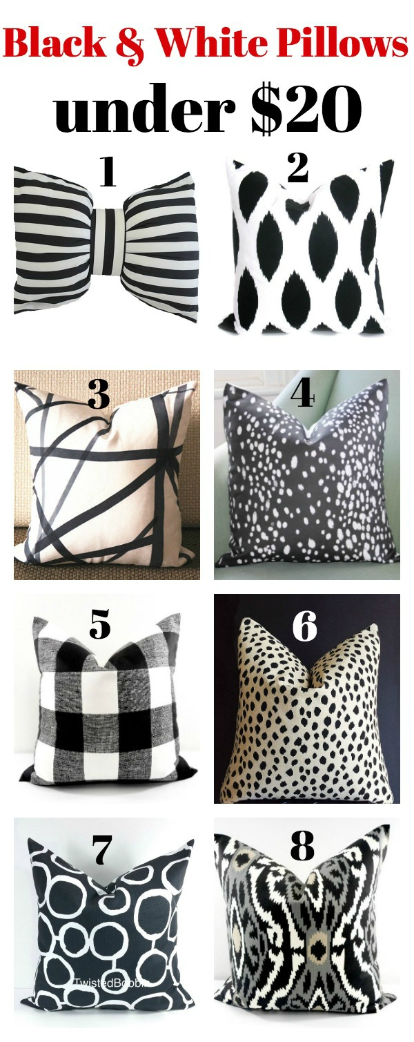 Black and White Pillows Under $20 - Affordable, but stylish pillows!