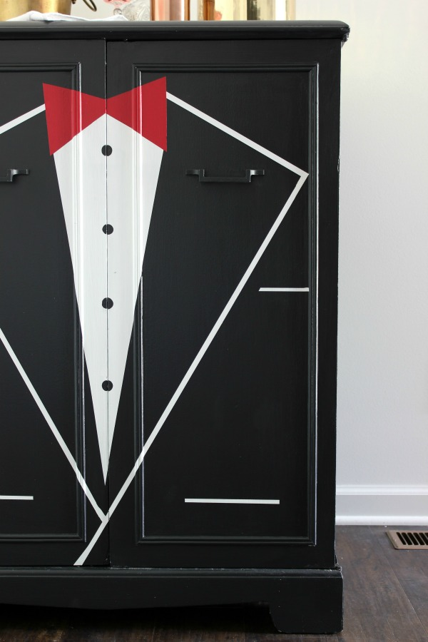 DIY Tuxedo Bar | Learn how to paint a bar front or any piece of furniture with a mostly flat front to look like a tuxedo jacket. Awesome idea for a furniture makeover!