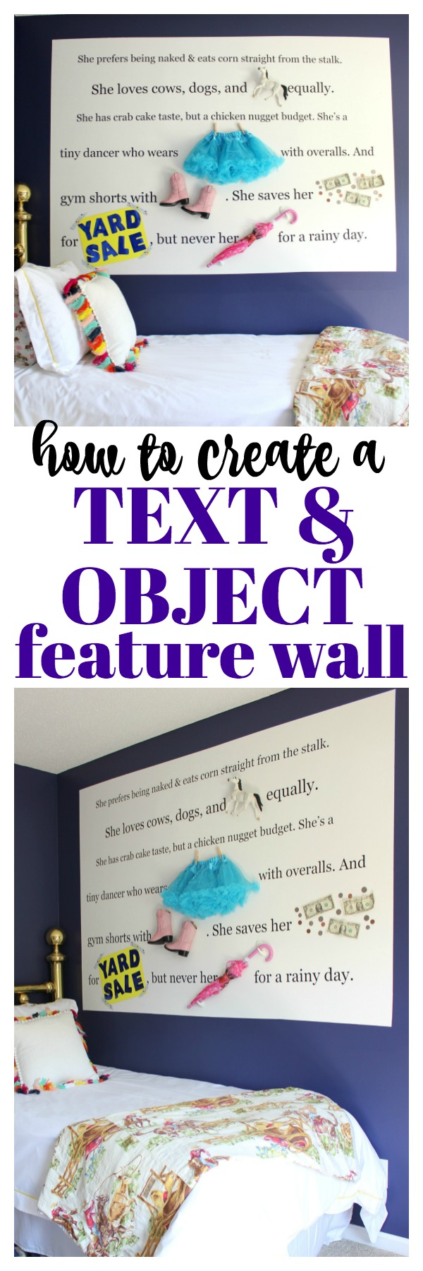 Learn how to create an object and text feature wall - perfect for a kid's room and totally customizable! Great way to add unique personality to a space!