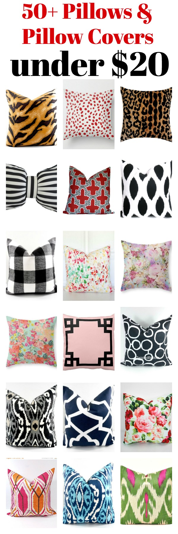 50+ Pillow Covers and Pillows under $20 - great source for affordable pillows of every color and pattern! Loads of pillow options!