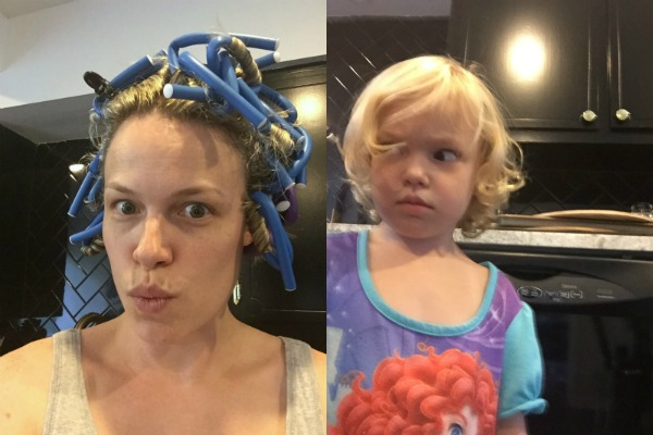 Hair curlers = bad idea.