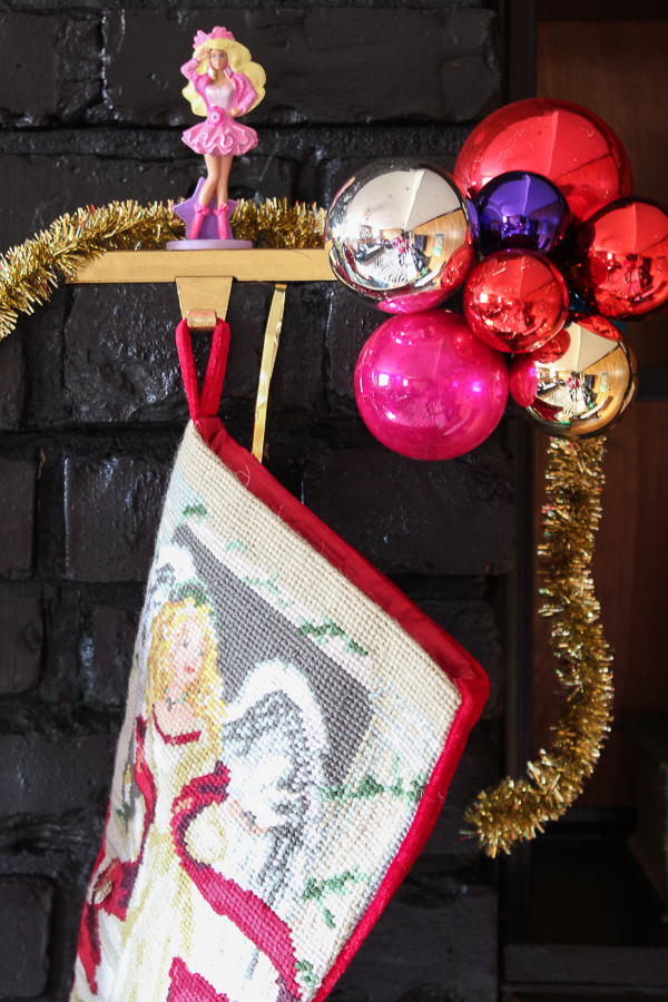 A Colorful Christmas Home Tour: Christmas Decorating in the Den | Holiday Fireplace Decor | DIY Custom Character Stocking Holders