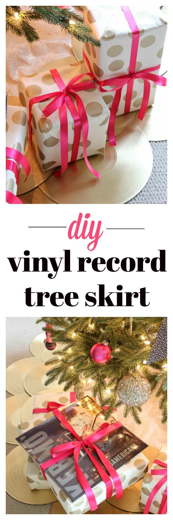 DIY Vinyl Record Christmas Tree Skirt | Christmas Tree Skirt Ideas | Christmas Tree Skirt DIY | How To Make a Christmas Tree Skirt