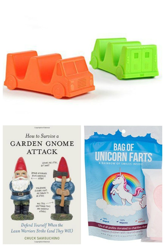 Gift Ideas for The Person Who Has Everything: Funny Gifts - taco truck taco holders, gnome attack book, unicorn farts