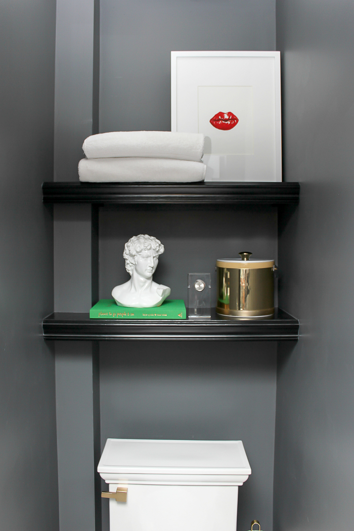 DIY Bathroom Shelves | Black, Gray, and Brass Master Bathroom Remodel | Black Bathroom Ideas | Gray Bathroom Ideas | Bathroom Remodel | Master Bathroom Ideas