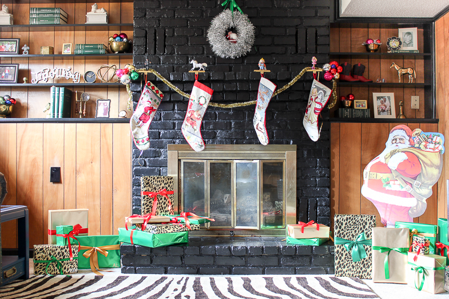 A Colorful Christmas Home Tour: Christmas Decorating in the Den | Holiday Fireplace Decor