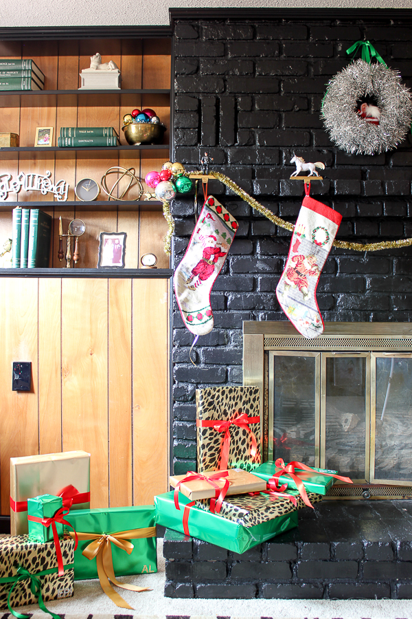 A Colorful Christmas Home Tour: Christmas Decorating in the Den   Holiday Fireplace Decor