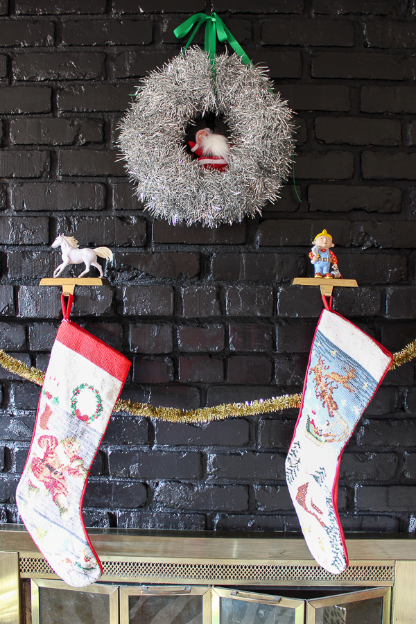 A Colorful Christmas Home Tour: Christmas Decorating in the Den   Holiday Fireplace Decor   DIY Custom Character Stocking Holders