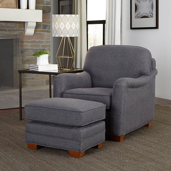 Grey Upholstered Chair with Ottoman | Affordable Accent Chairs for $300 or Less | Accent Chairs for Living Room | Upholstered Chairs | Upholstered Accent Chair