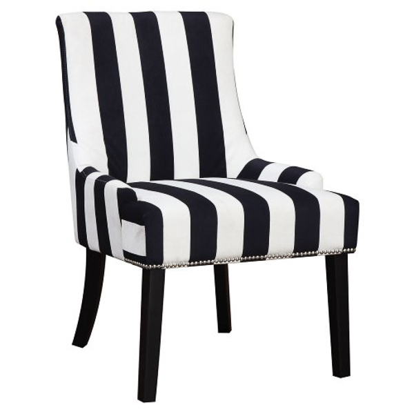 Navy and White Striped Accent Chair | Affordable Accent Chairs for $300 or Less | Accent Chairs for Living Room | Upholstered Chairs | Upholstered Accent Chair