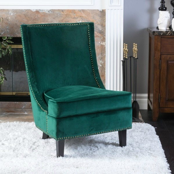 Green Velvet Accent Chair | Affordable Accent Chairs for $300 or Less | Accent Chairs for Living Room | Upholstered Chairs | Upholstered Accent Chair