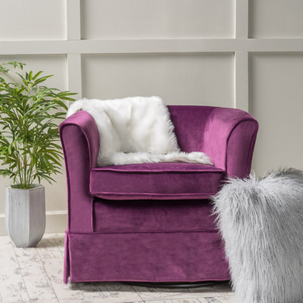Purple Velvet Swivel Chair | Affordable Accent Chairs for $300 or Less | Accent Chairs for Living Room | Upholstered Chairs | Upholstered Accent Chair