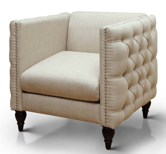 Tuxedo Tufted Armchair | Affordable Accent Chairs for $300 or Less | Accent Chairs for Living Room | Upholstered Chairs | Upholstered Accent Chair