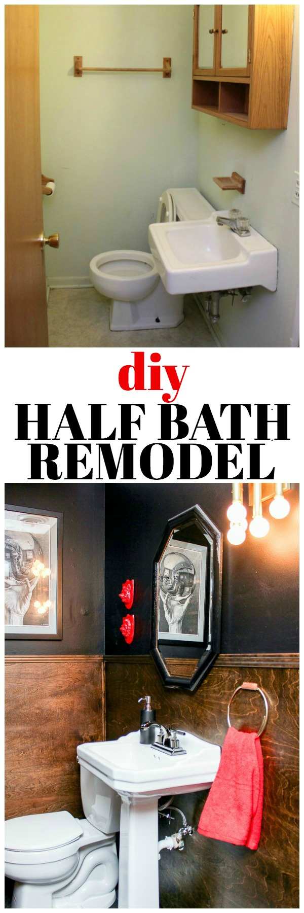 DIY Half Bath Remodel on a Budget - full of great half bathroom ideas, especially for small bathrooms.