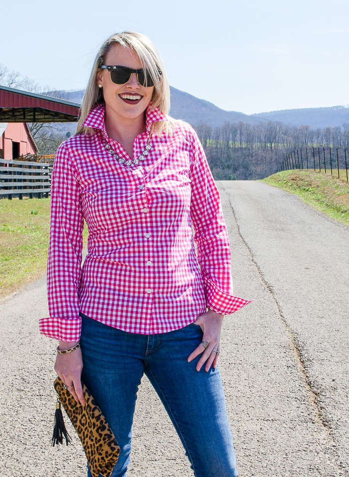 Casual Cute Outfits Spring and Fall | Pink Gingham Shirt Outfit Women | Pink Gingham Shirt Outfit Fall and Spring | How to Wear a Gingham Shirt