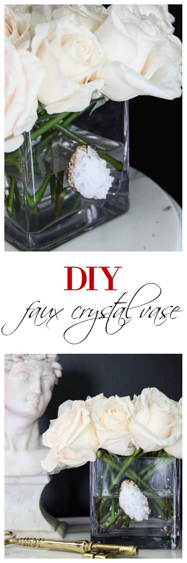 Embellish plain vases with these faux crystals! Use this tutorial for a DIY Faux Crystal Vase to make your own in 10 minutes or less!