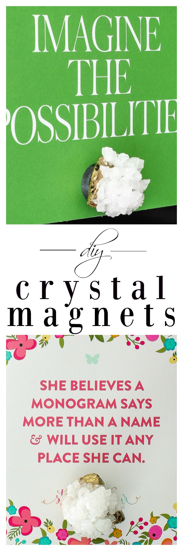 Learn how to make crystal magnets with this tutorial for DIY crystals! These dress up a refrigerator and would make a great housewarming gift as well!