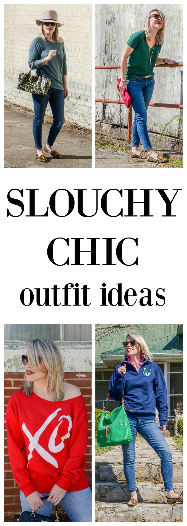 Get Slouchy Chic Outfit Ideas for when you want to look put together, but be comfortable too. Includes slouchy sweatshirt, dressy t-shirt ideas, and more.