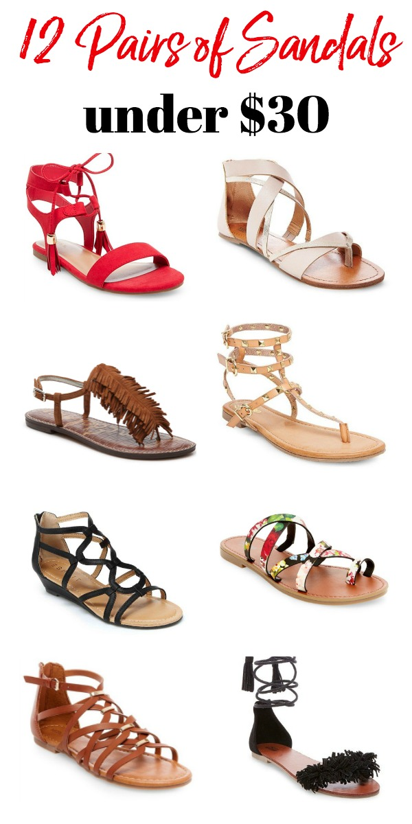 Looking for summer sandals? Here are 12 pairs of sandals under $30. These affordable sandals offer something for everyone's style!