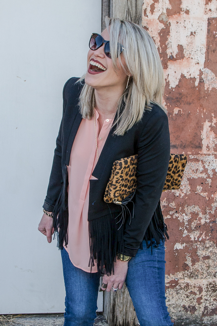 Casual Blazer Outfit: Black Fringe Blazer with Pink Blouse, Jeans and Leopard Wedges