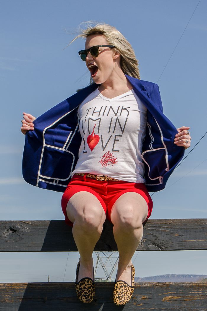 Casual Blazer Outfit: Sapphire Blazer with Red Shorts, White T-Shirt and Leopard Shoes