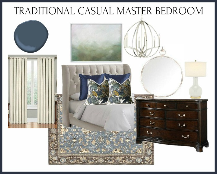 This traditional casual bedroom design brings in timeless elements that won't easily date, but also packs a punch of personality and color too.