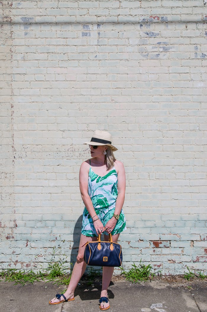 Effortless Outfits: Rompers | Banana Leaf Tropical Print Romper with a Fedora