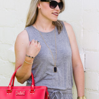 Effortless Outfits: Rompers | Casual Grey Romper paired with Red Handbag for a pop of color.