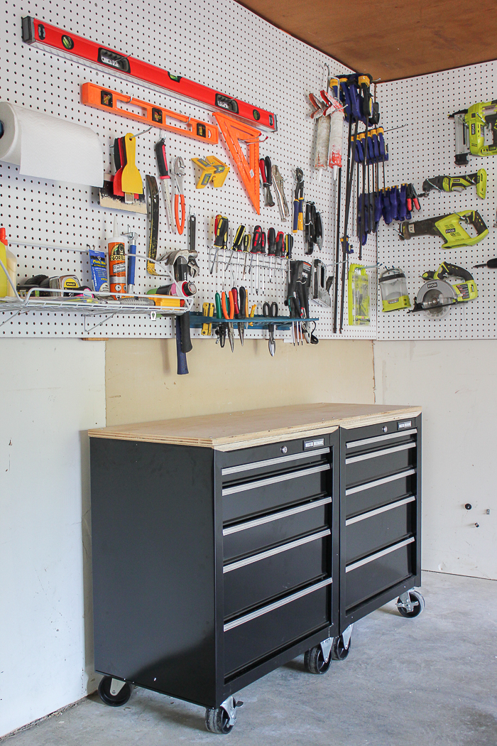 one stop workshop diy mobile workbench pegboard organization. Black Bedroom Furniture Sets. Home Design Ideas
