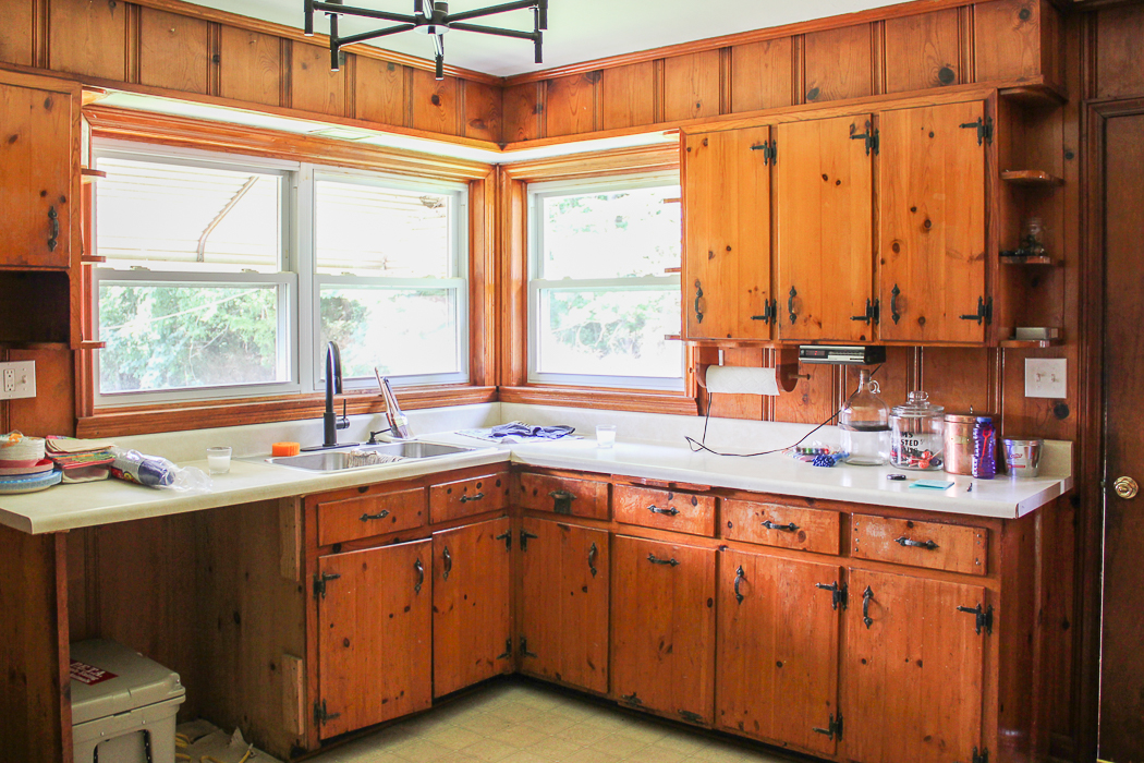 as i told you when i first wrote about this project the knotty pine walls and cabinets are staying that being said the lower cabinets are in pretty poor - Knotty Pine Kitchen Cabinets