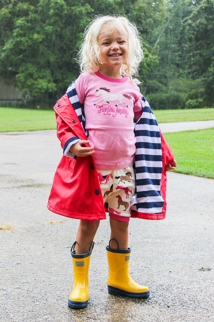 Summer Fun in the Rain | Hatley Raincoat, Boots and Pajamas