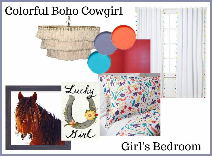 Colorful Boho Cowgirl Girls Bedroom Design