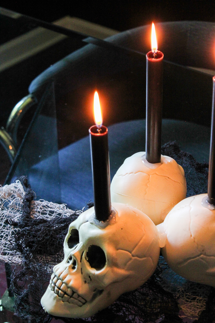 Easy Dollar Tree Skull Candleholder - an easy halloween decoration DIY with items from the Dollar Tree!