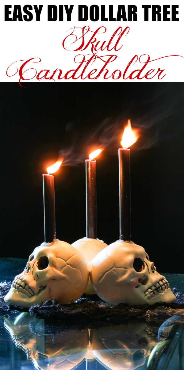 Easy DIY Dollar Tree Skull Candleholder - an easy halloween decoration DIY with items from the Dollar Tree!