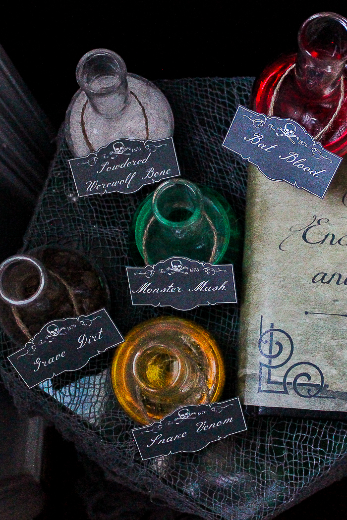 image relating to Printable Potion Labels titled Free of charge Printable Spell E book Go over and Potion Labels for Halloween