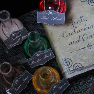 Free Printable Spell Book Cover and Potion Labels
