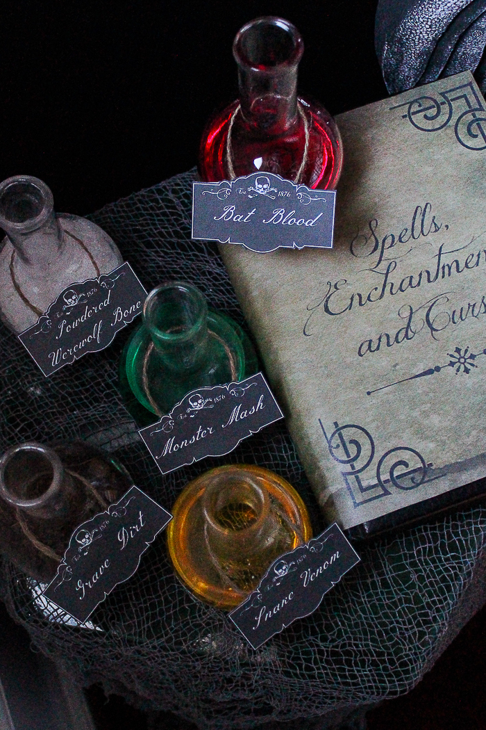 Free Printable Spell Book Cover and Potion Labels - fast and easy Halloween decorations!