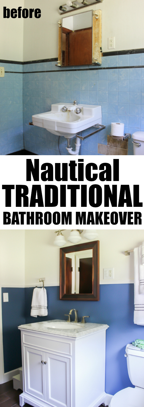 A small farmhouse bathroom remodel that has a touch of farmhouse style mixed with a traditional and nautical feel.