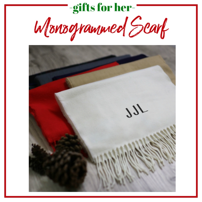Gifts for Her - monogrammed scarf.