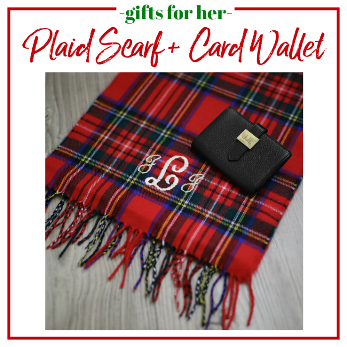 Gifts for Her - Plaid Scarf and Card Wallet
