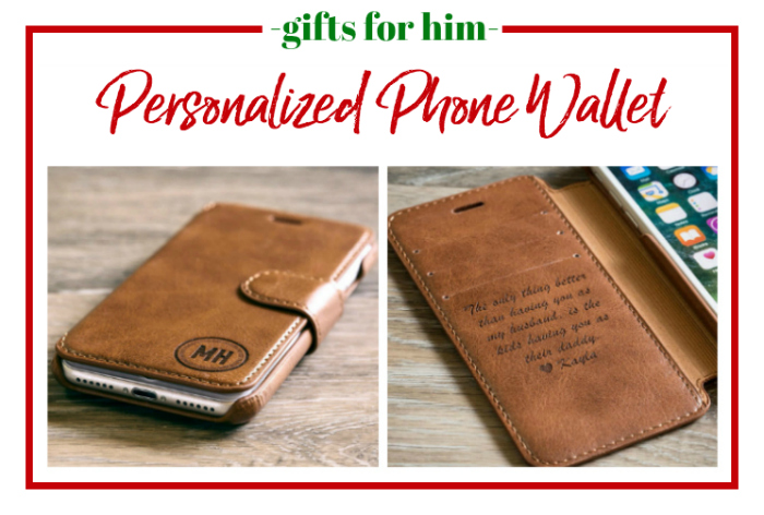 Gifts for Him - personalized phone wallet.
