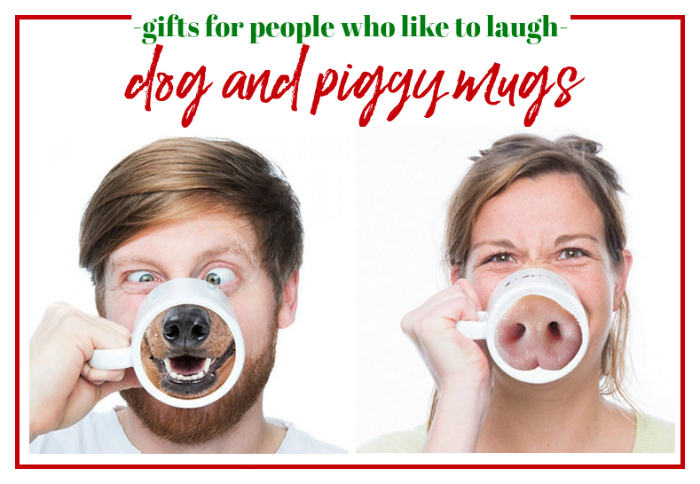 Gifts for People Who Like to Laugh - Dog and Piggy Mugs
