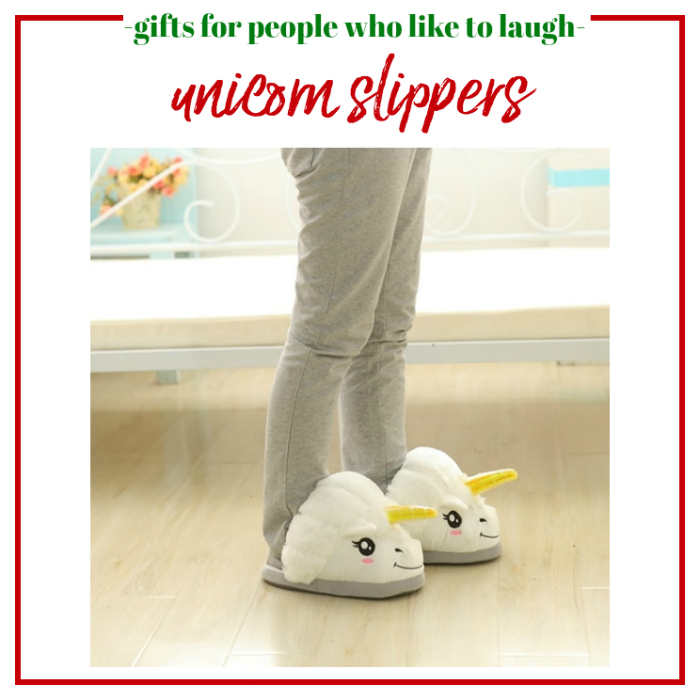 Gifts for People Who Like to Laugh - Unicorn Slippers