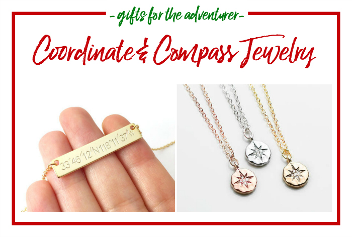 Gift Ideas for the Adventurer - coordinate and compass jewelry