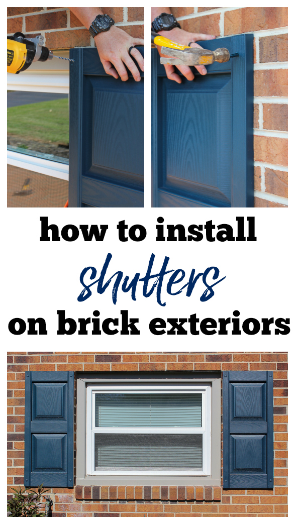 How to Hang Shutters on Brick - a step by step guide to installing vinyl shutters on a brick exterior.