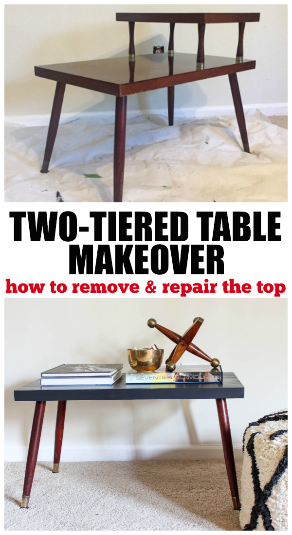 Two Tiered Table Makeover - How to remove the top tier! Such a great diy furniture makeover idea!