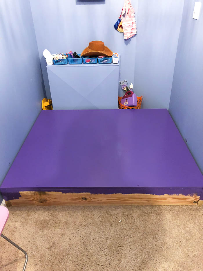 Kids Stage for Playroom - painting the stage - Rain on a Tin Roof