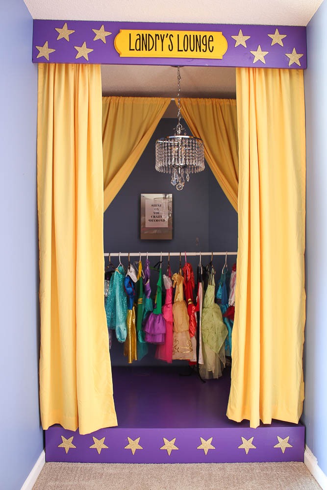 DIY Children's Stage - easy build for your child's playroom, also has hidden dress-up clothes storage.