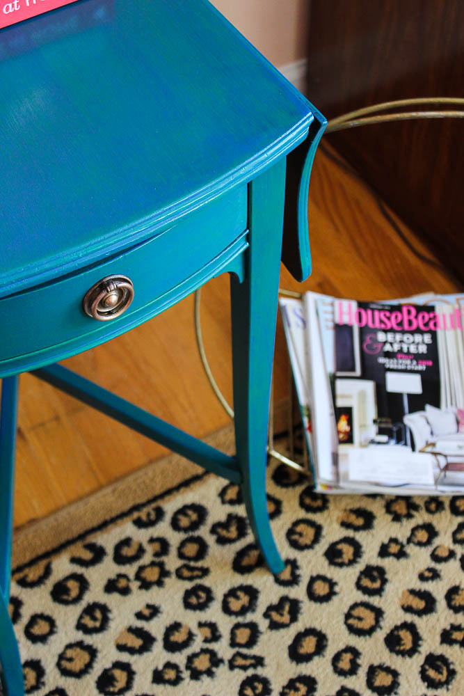 How to get a layered Caribbean Blue Look When Painting Furniture - easy furniture painting technique.