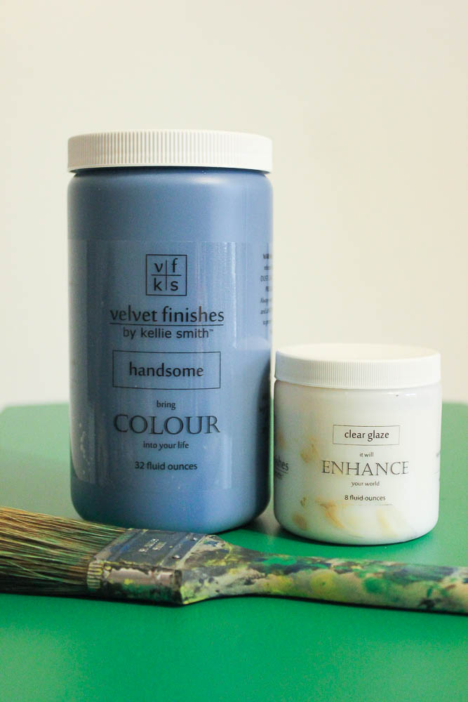 How to get a layered Caribbean Blue Look When Painting Furniture - mixing the colored glaze.